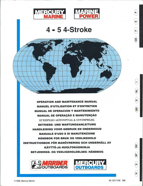 Mercury Marine Outboard Operation & Repair Manual for 4 and 5HP 4-stroke engines 1998 download