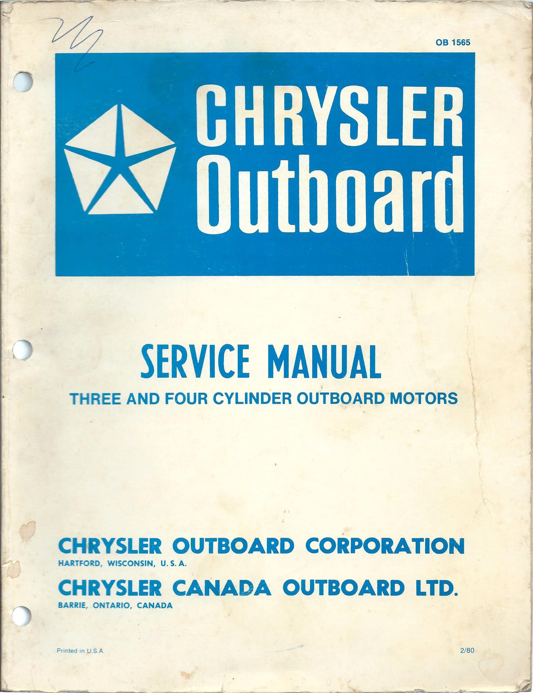 Clymer Repair Manual Chrysler Outboard 1966-1984