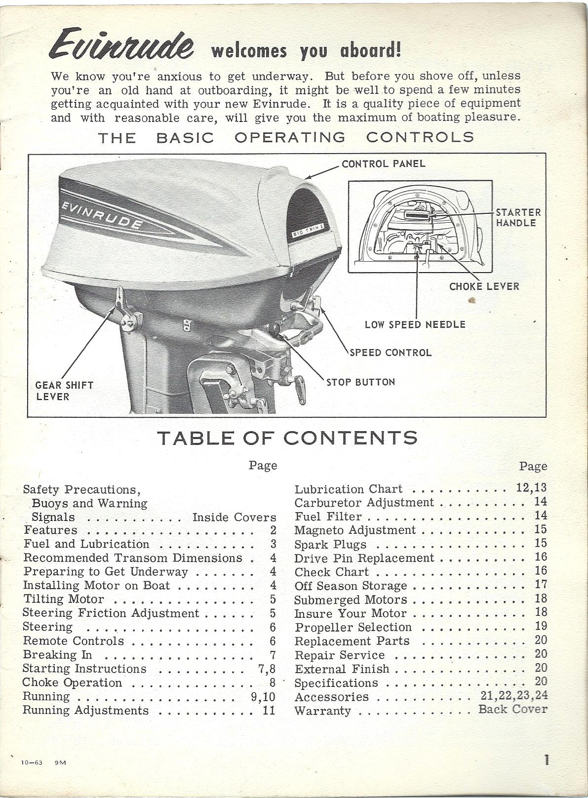 Evinrude Owners Manual 1964 40hp Big Twin Model 40402 And