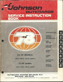 Johnson Outboards Service Instruction Book 9.9hp and 15hp models 10r78 10rl78 10el78 10sel78.jpg