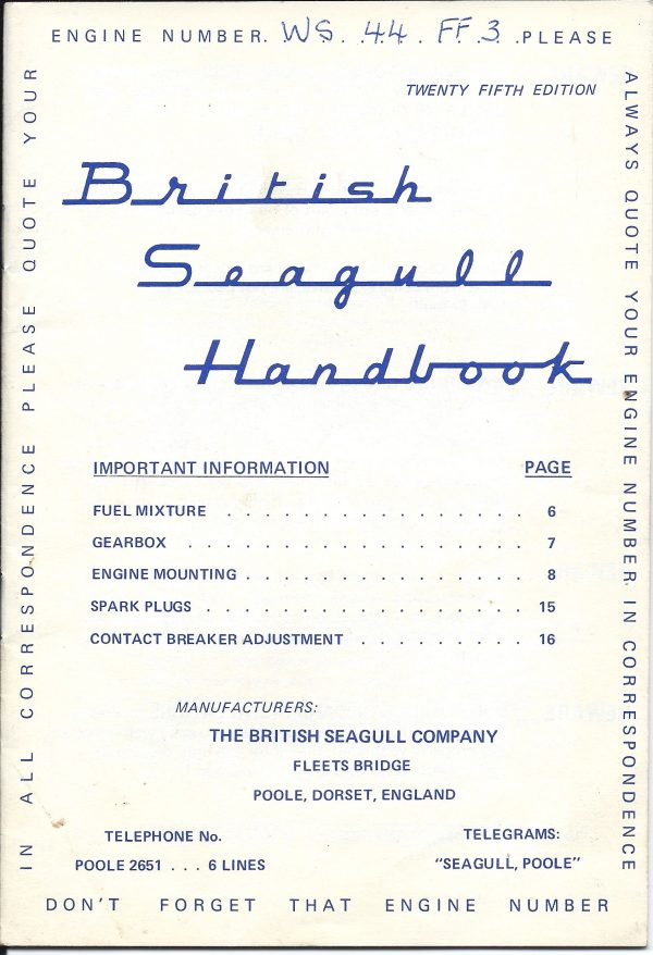Seagull Outboard Owners Manual  printed in 1973