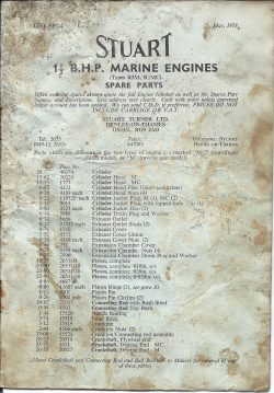 Stuart Marine Engines Spare Parts List for 1.5B.H.P Types; R3M, R3MC