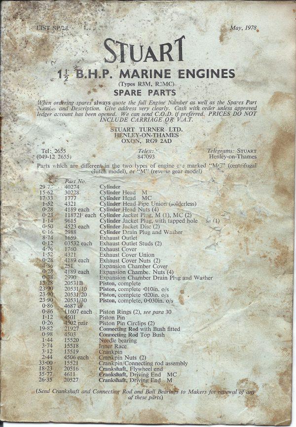 Stuart Marine Engines Spare Parts List for 1.5B.H.P Types; R3M, R3MC