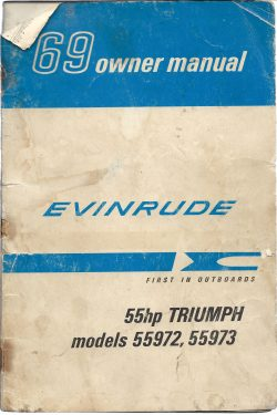 1969 Evinrude Owners manual 55HP TRIUMPH Model 55972 and 55973