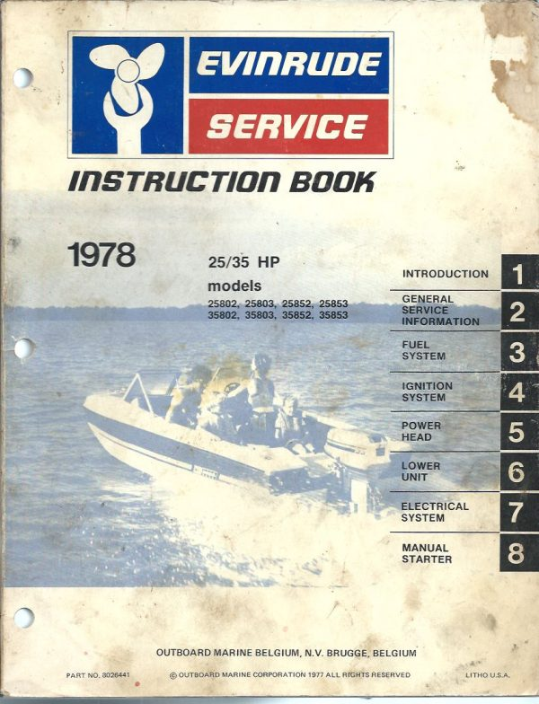 Evinrude Outboard Service Instruction Manual 25HP 35HP models 1978 25802
