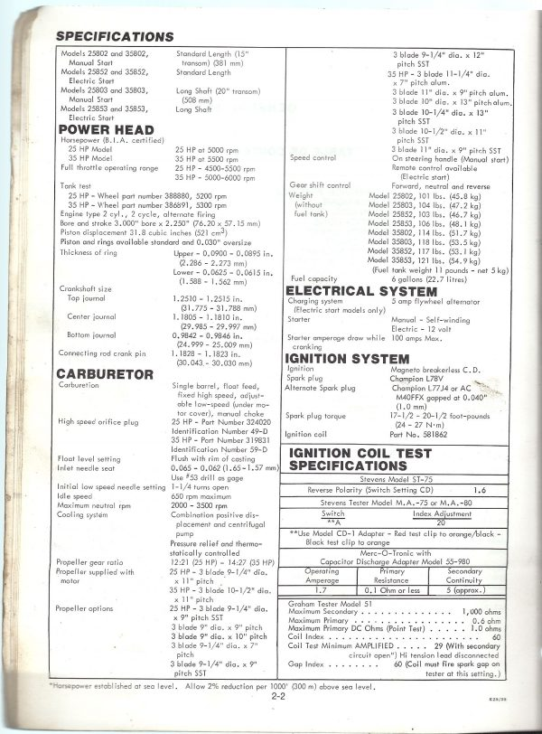 Evinrude Outboard Service Instruction Manual 25HP 35HP models 1978 specifications
