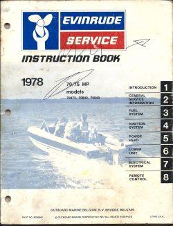 Evinrude Outboard Manual 70HP 75HP models 1978