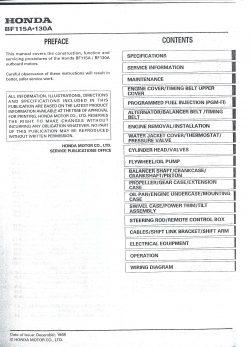 Honda BF115A 130A Outboard Service Manual 1998